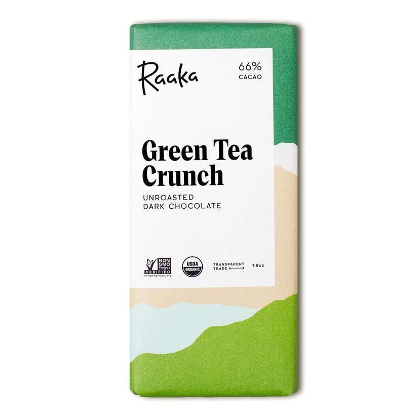 Raaka Chocolate 66% Green Tea Crunch Chocolate Bar