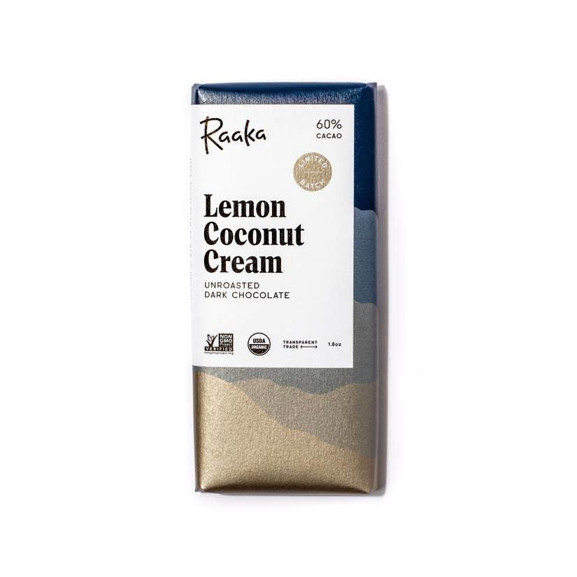 Raaka Chocolate Lemon Coconut Cream Chocolate Bar