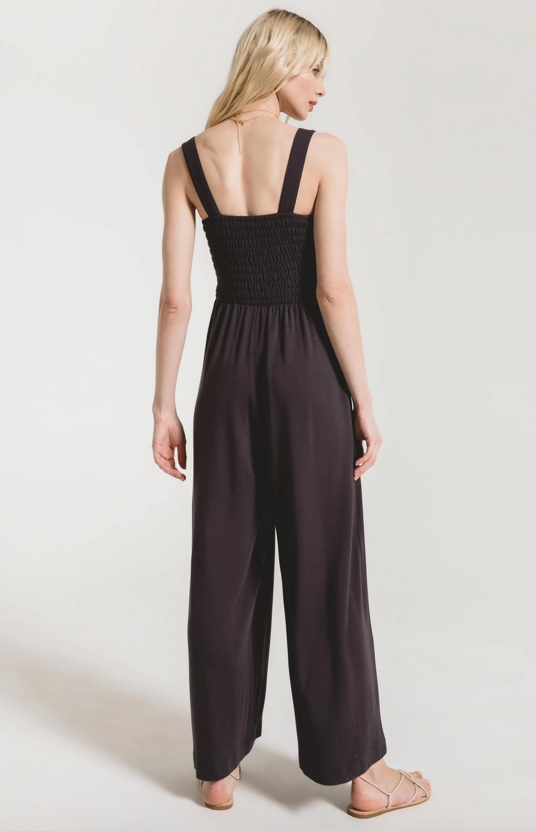 Z Supply Smocked Knit Jumper-Washed Black