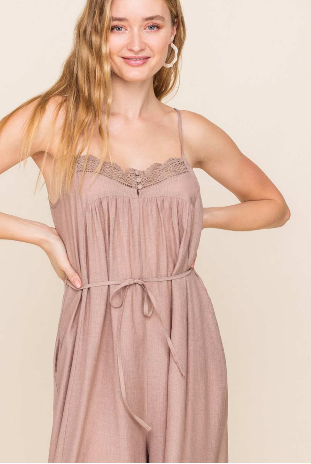 All In Favor Trim Detail Loose Jumpsuit-Taupe