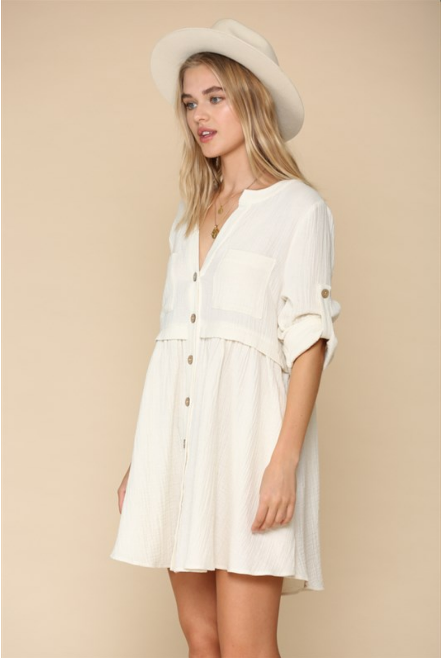 By Together 3/4 Sleeve Button Up Dress-Ivory