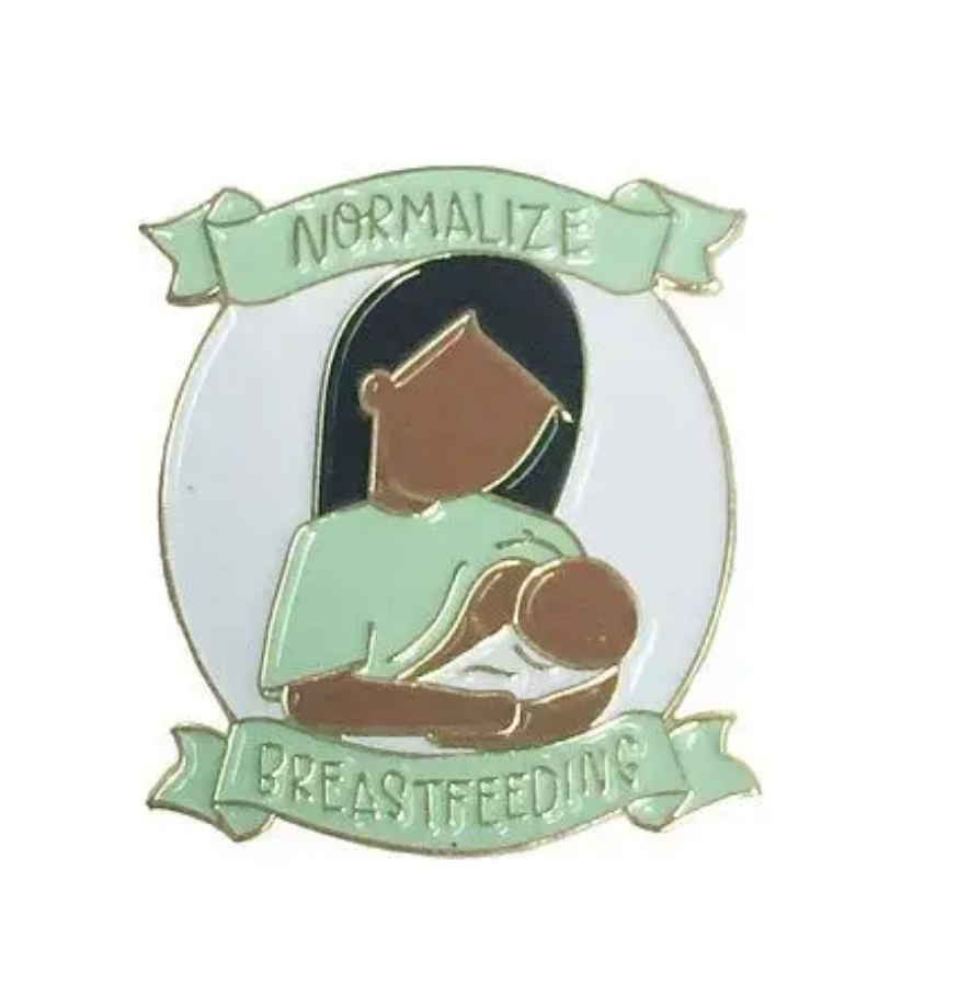 Little Lovelies Studio Normalize Breastfeeding in Chocolate Enamel Pin