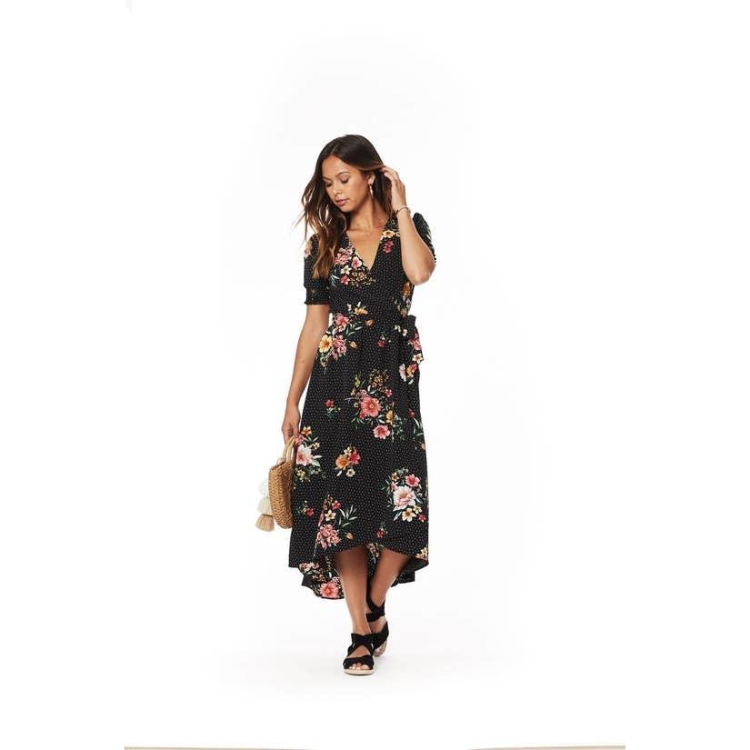 Lost + Wander Downtown Floral Midi Dress-Black