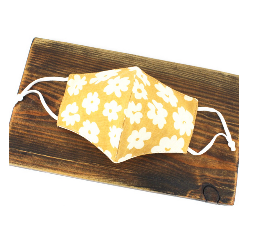 Pretty Persuasions DAISY REUSABLE MASK (ADJUSTABLE STRAPS) - Yellow