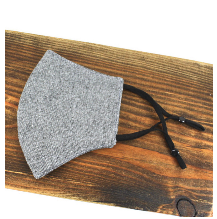 Pretty Persuasions SOLID REUSABLE MASK (ADJUSTABLE STRAPS) - BLACK/GREY