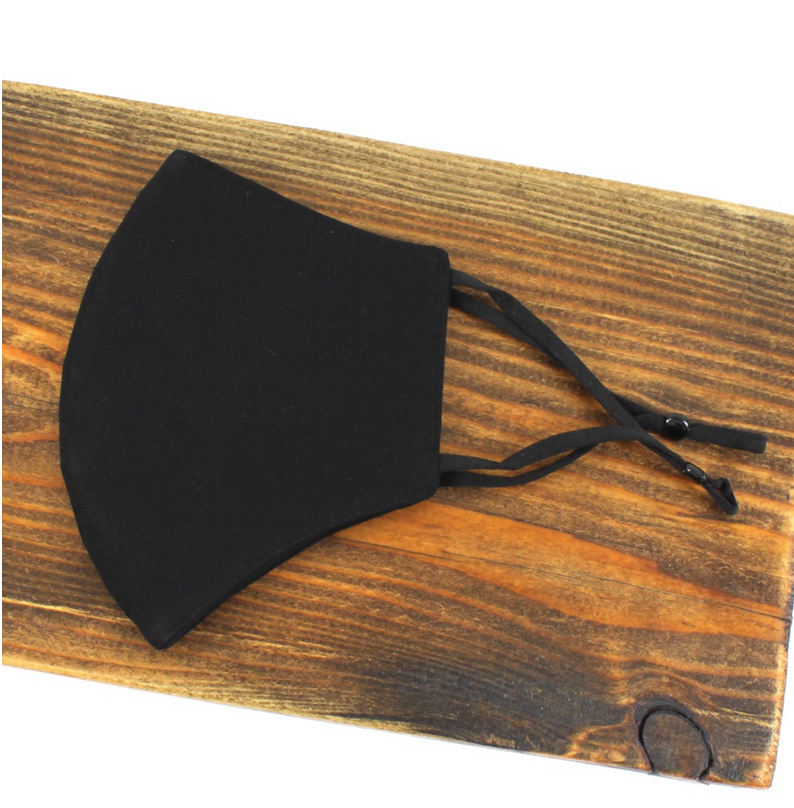 Pretty Persuasions SOLID REUSABLE MASK (ADJUSTABLE STRAPS) - BLACK