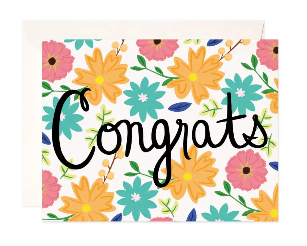 Bloomwolf Studio Congrats Floral Greeting Card