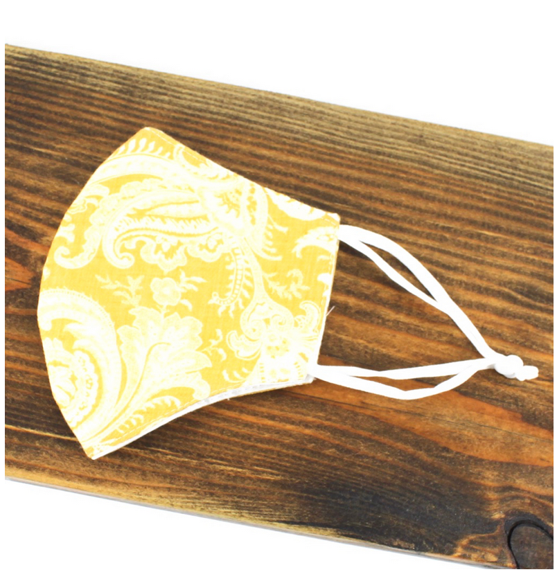 Pretty Persuasions PAISLEY REUSABLE MASK (ADJUSTABLE STRAPS) - yellow