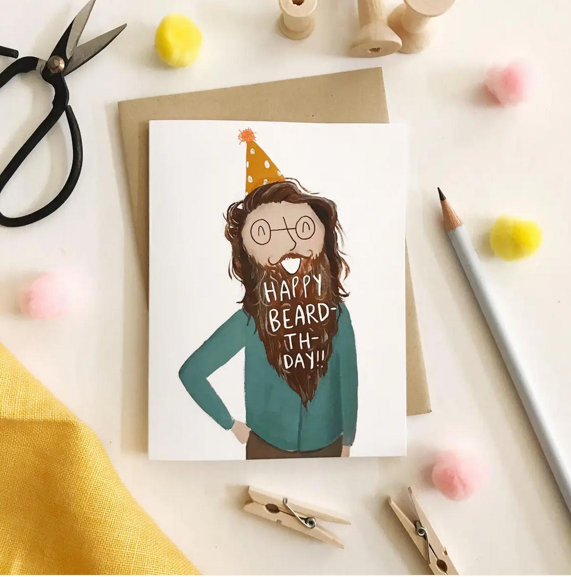 Abbie Paulhus Happy Beardthday Birthday Card
