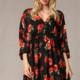 By Together Floral  V-Neck Dress-Black/Red