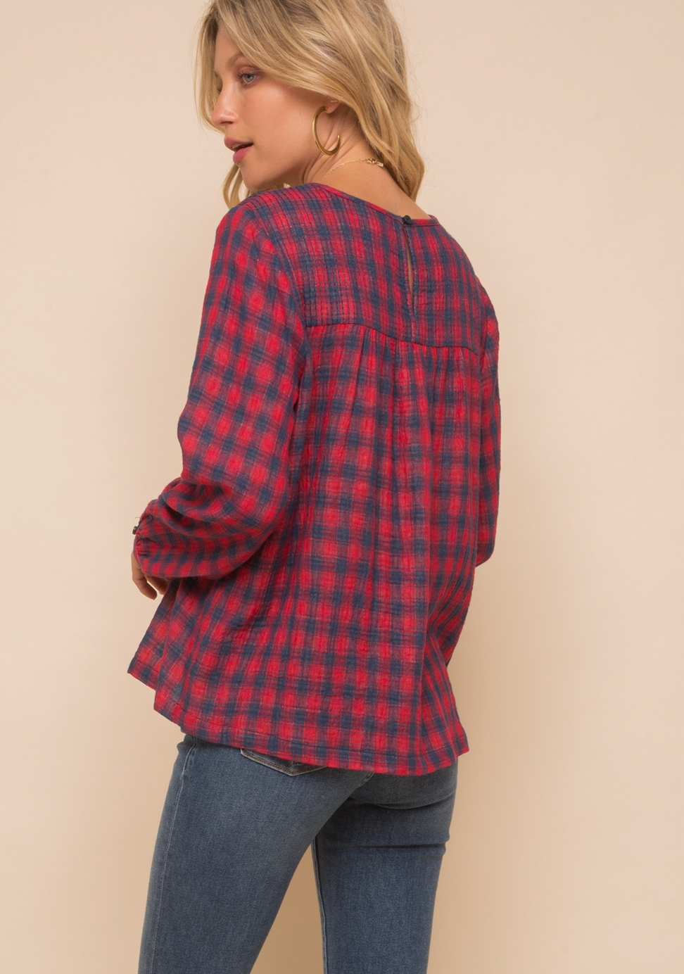 Hem & Thread Gingham Blouse-Red/Navy