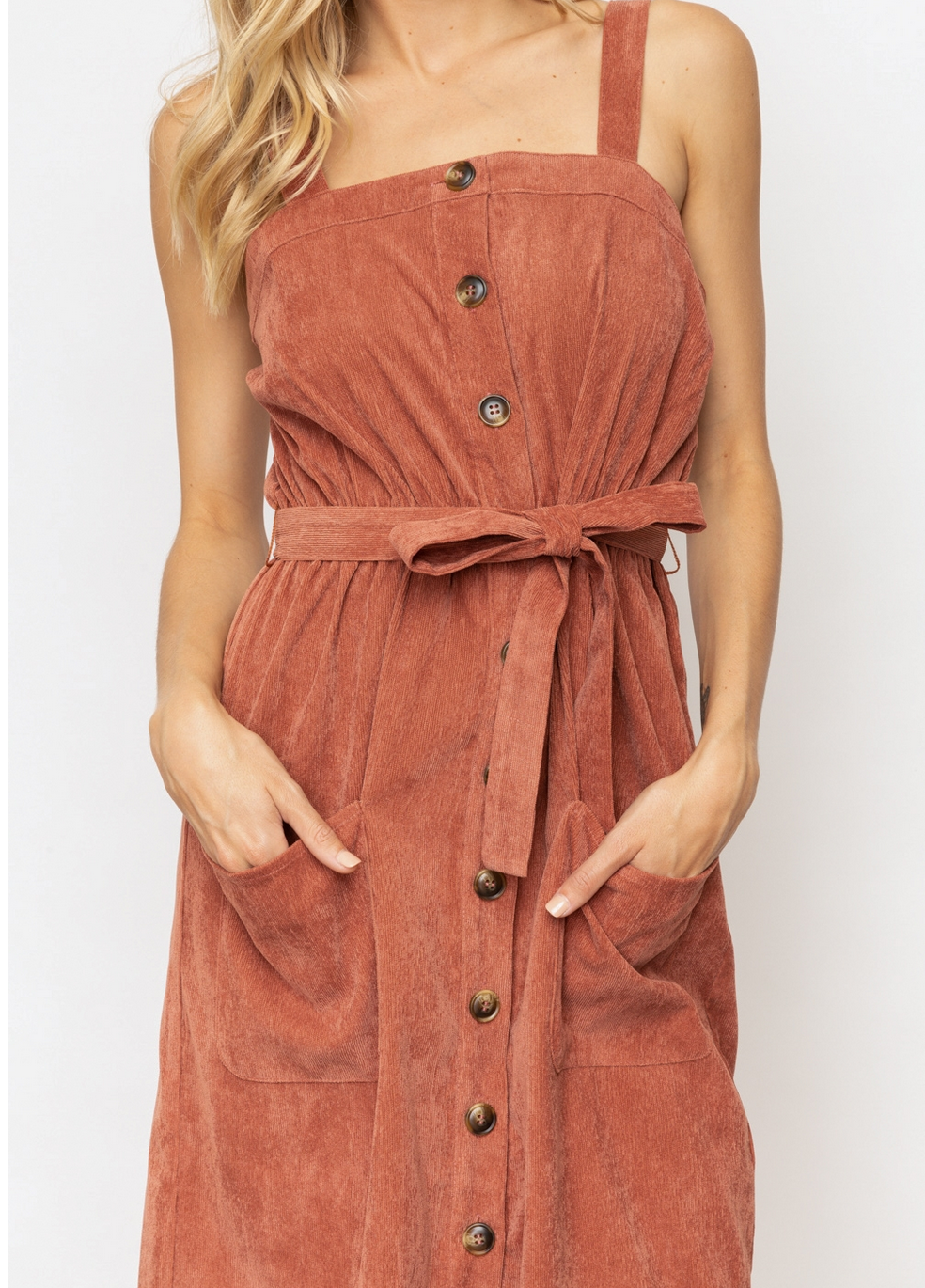 Hem & Thread Button Front Corduroy Midi-Brick