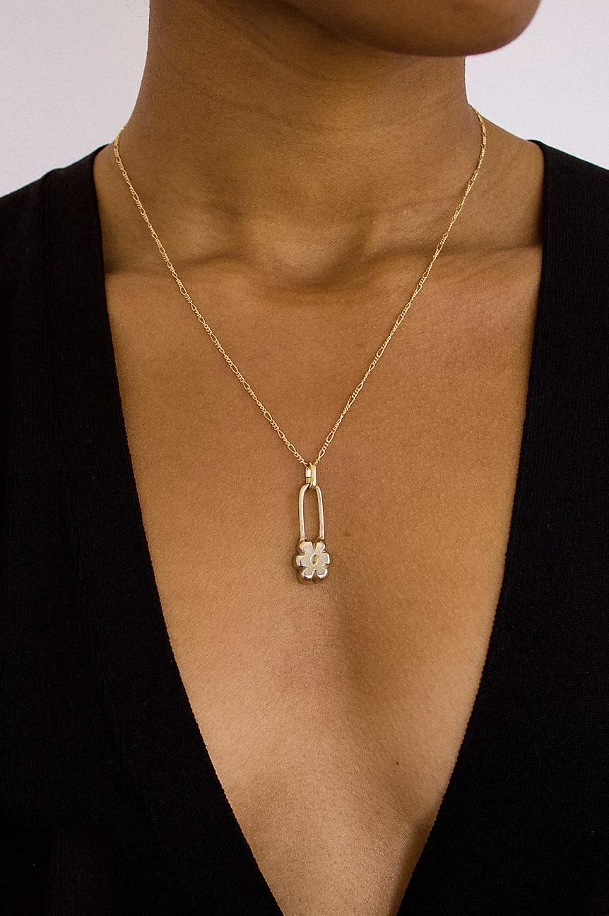 Yam Flower Pins Necklace-Bronze/Brass