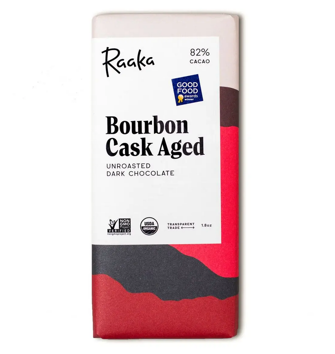 Raaka Chocolate 82% Bourbon Cask Aged Chocolate Bar
