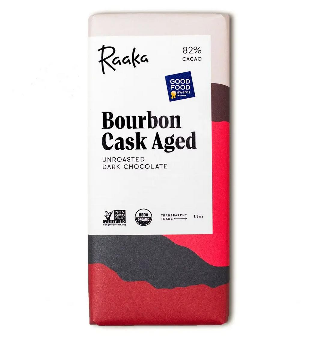 Raaka Chocolate 82% Bourbon Cask Aged Chocolate Bar