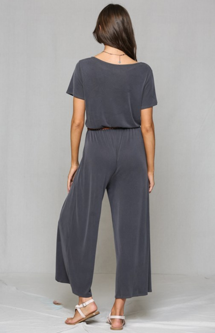 By Together modal washed rib jumpsuit - charcoal