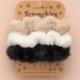 Natural Life Cream Black Set of 3 Fuzzy Scrunchies