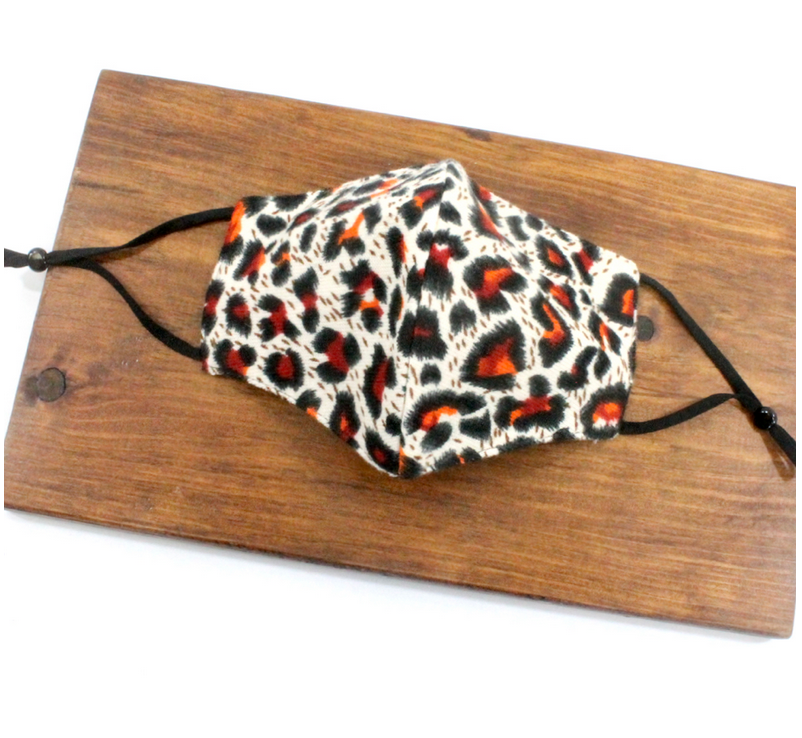 Pretty Persuasions LEOPARD REUSABLE MASK (ADJUSTABLE STRAPS)-ORG