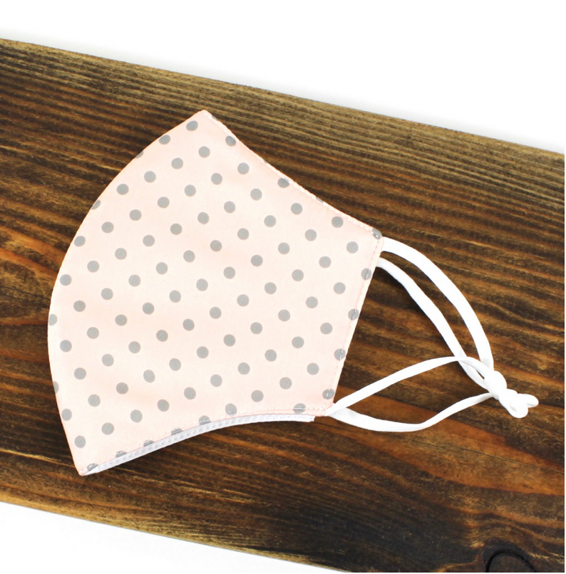 Pretty Persuasions SILKY DOTS REUSABLE MASK (ADJUSTABLE STRAPS)-PNK