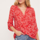 Lush Lush Woven 3/4 Top-Printed Red