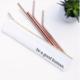 Last Straw Good Human- Straw Set Waterproof Lined Bag - Rose Gold - 6 Pc