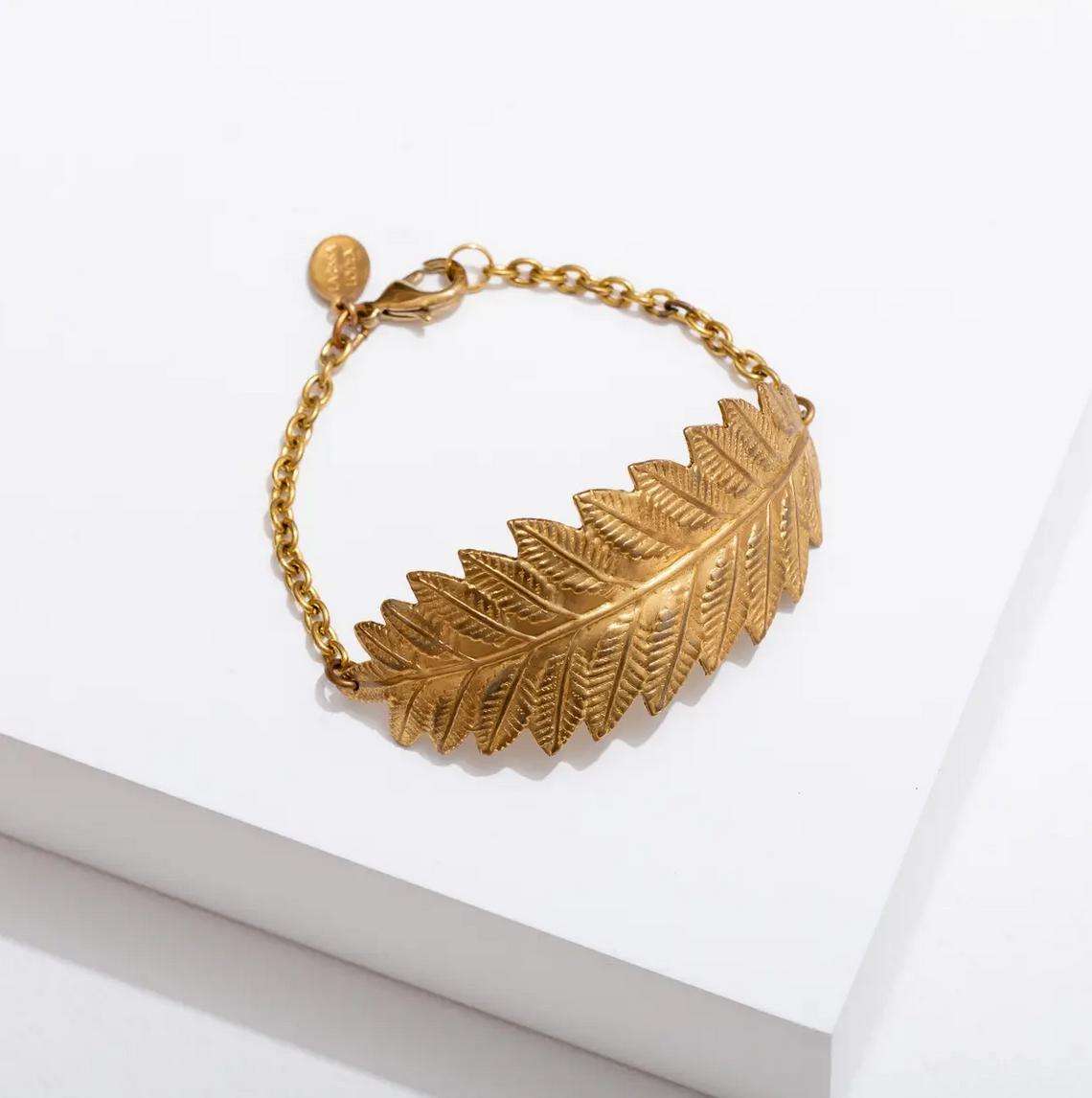 Larissa Loden Leaf Cuff Bracelet-Brass