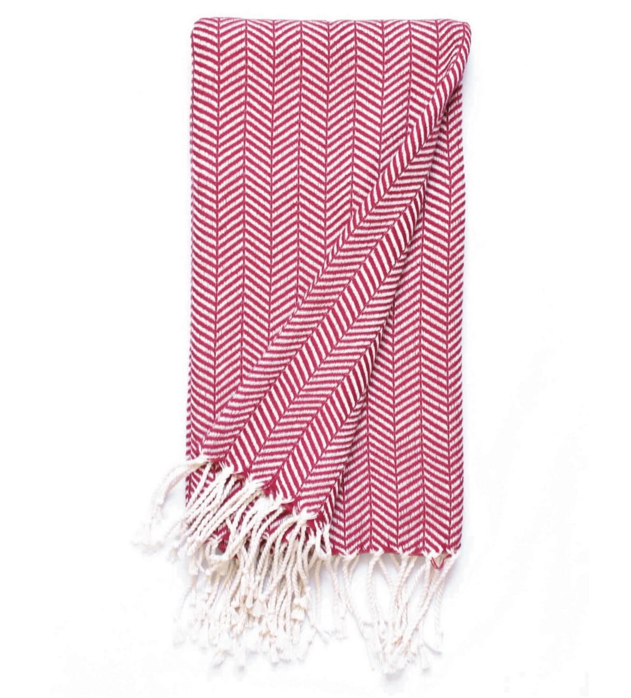 Beach House Towels Fuji Turkish Towel-Red ZigZag