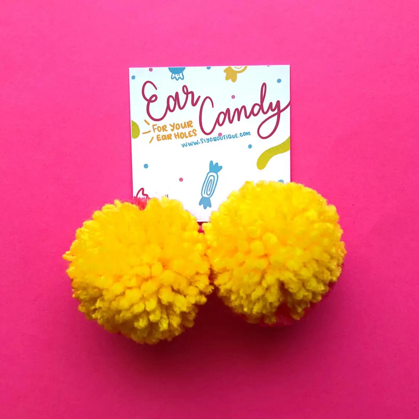 Siyo Boutique Strawb-Lem Pom Pom Earrings