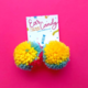 Siyo Boutique Rainbow Sherbet Pom Pom Earrings