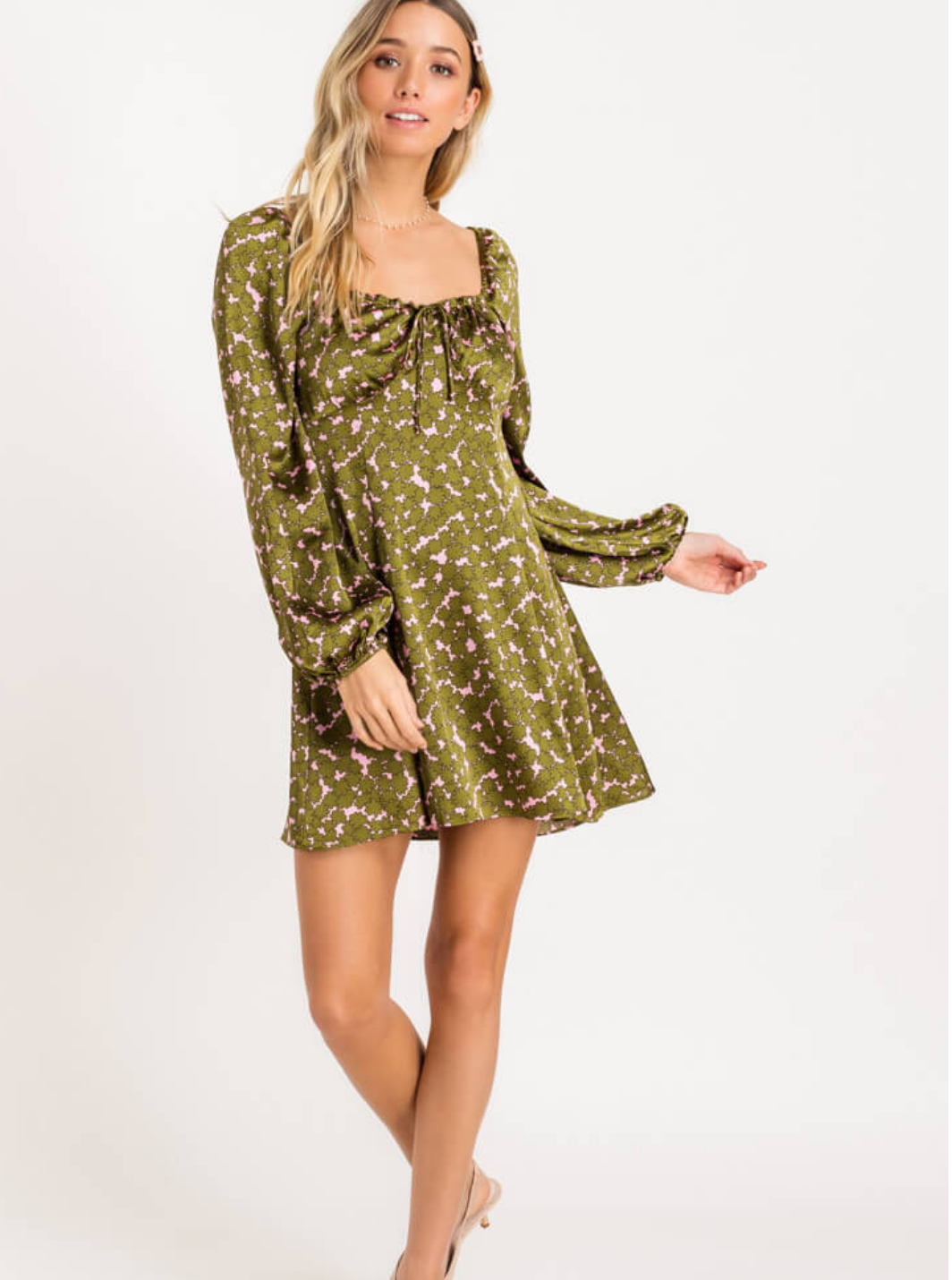 Lush Printed Satin Mini Dress-Green/Pink