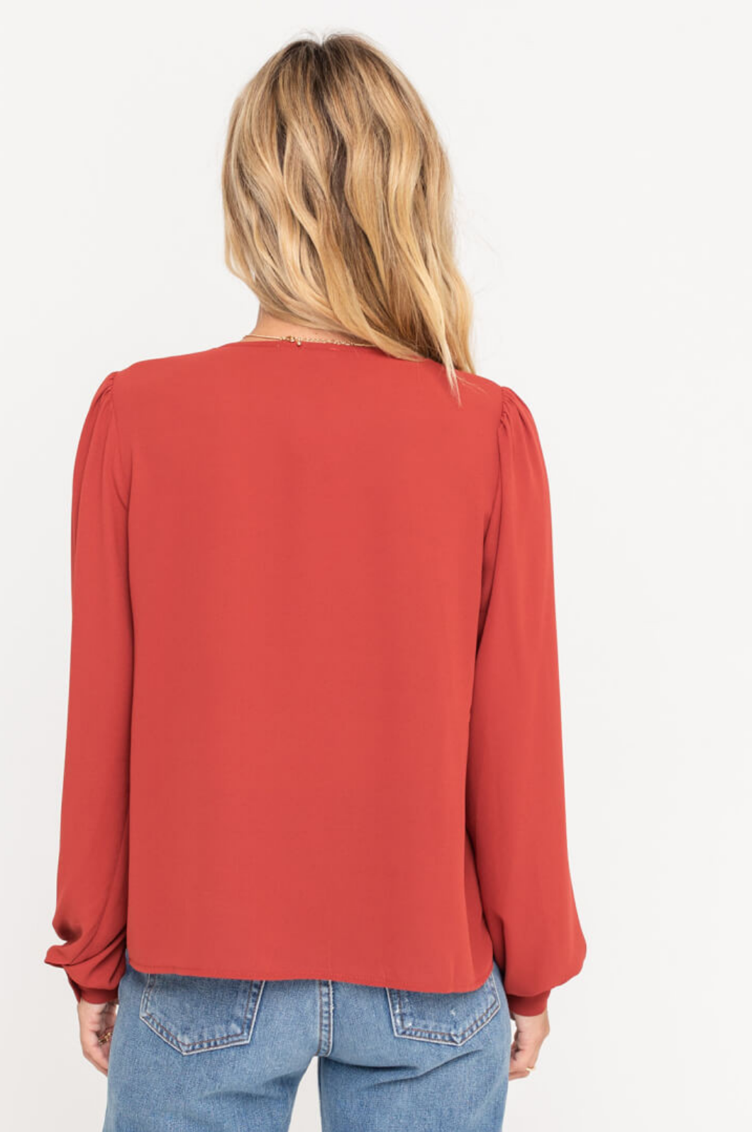 Lush Puff Shoulder Balloon Sleeve Blouse-Red