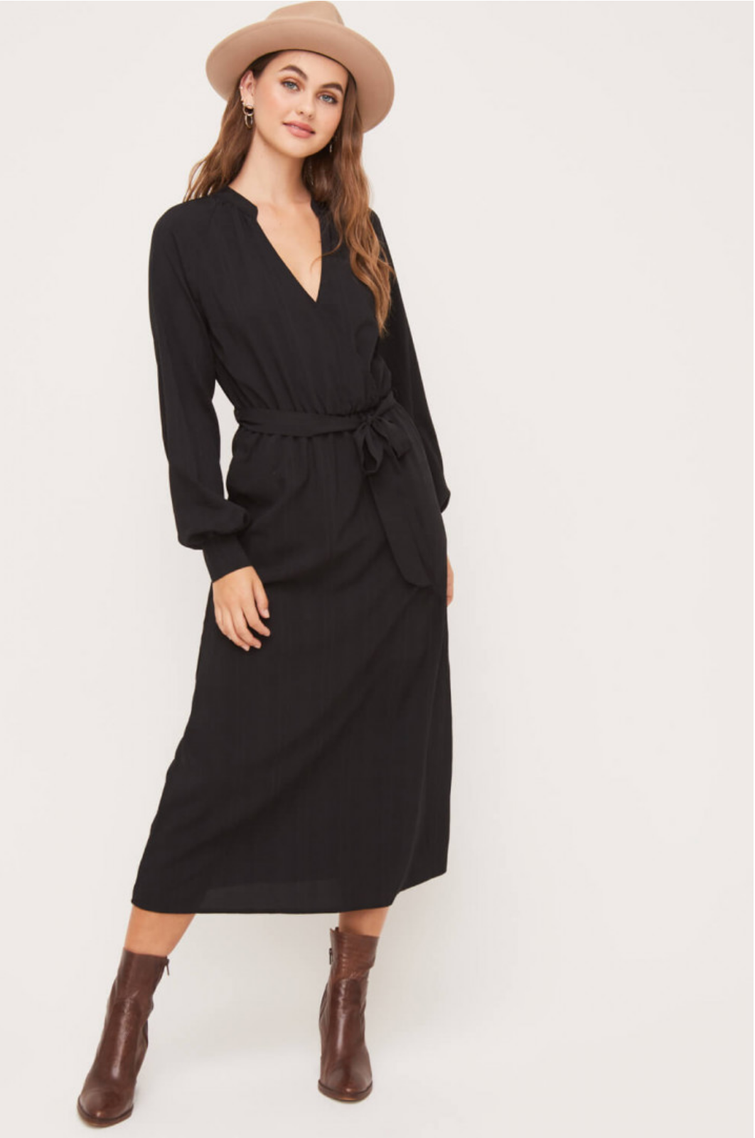 Lush Balloon Sleeve Midi Dress-Black