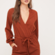 Lush Balloon Sleeve Midi Dress-Rust