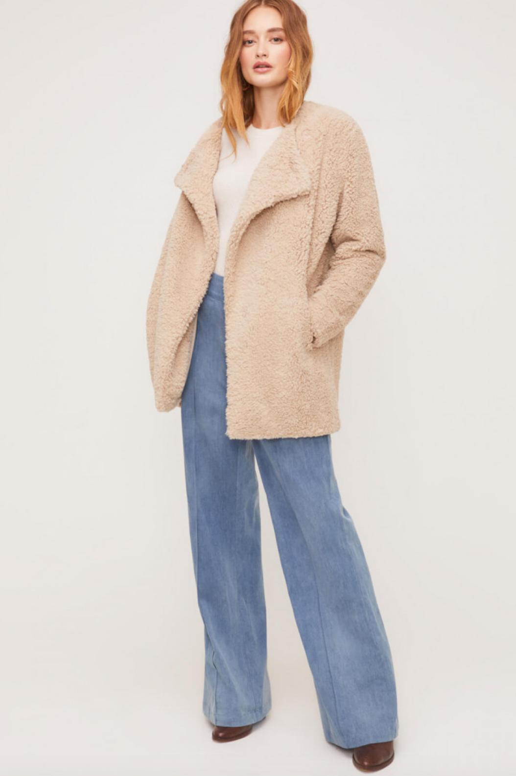 Lush Faux Fur Long Sleeve Coat-Taupe