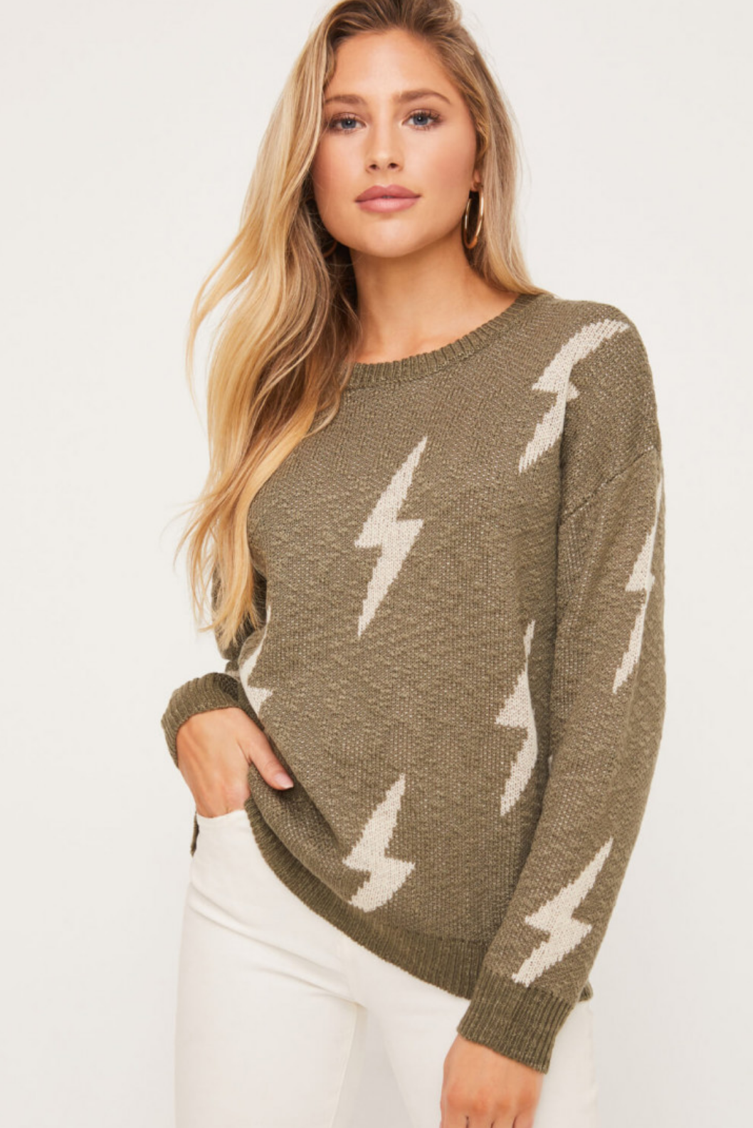 Lush Lightning Crewneck Sweater-Olive