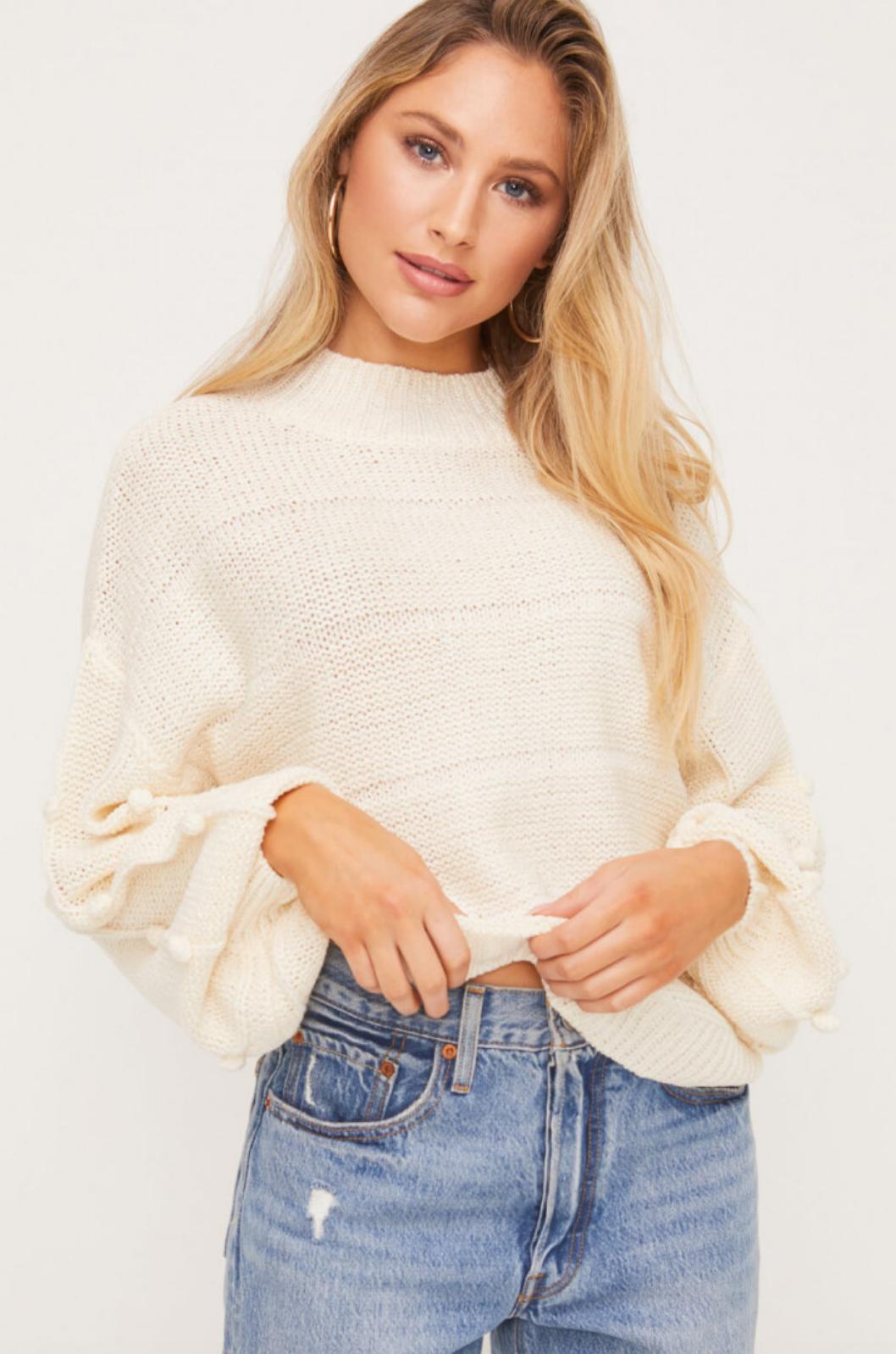 Lush Pom Pom Sleeve Mockneck Sweater-Cream
