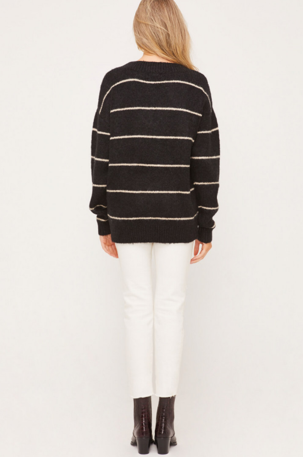 Lush Stripe Long Sleeve Sweater-Black/Cream