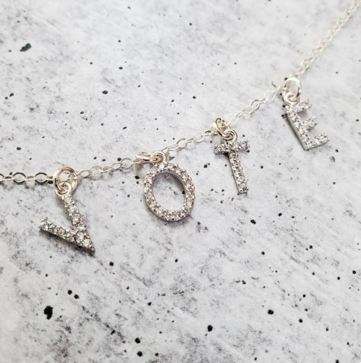 Rockaway Gypsea VOTE Necklace-Silver/Crystal Letters - FINAL SALE
