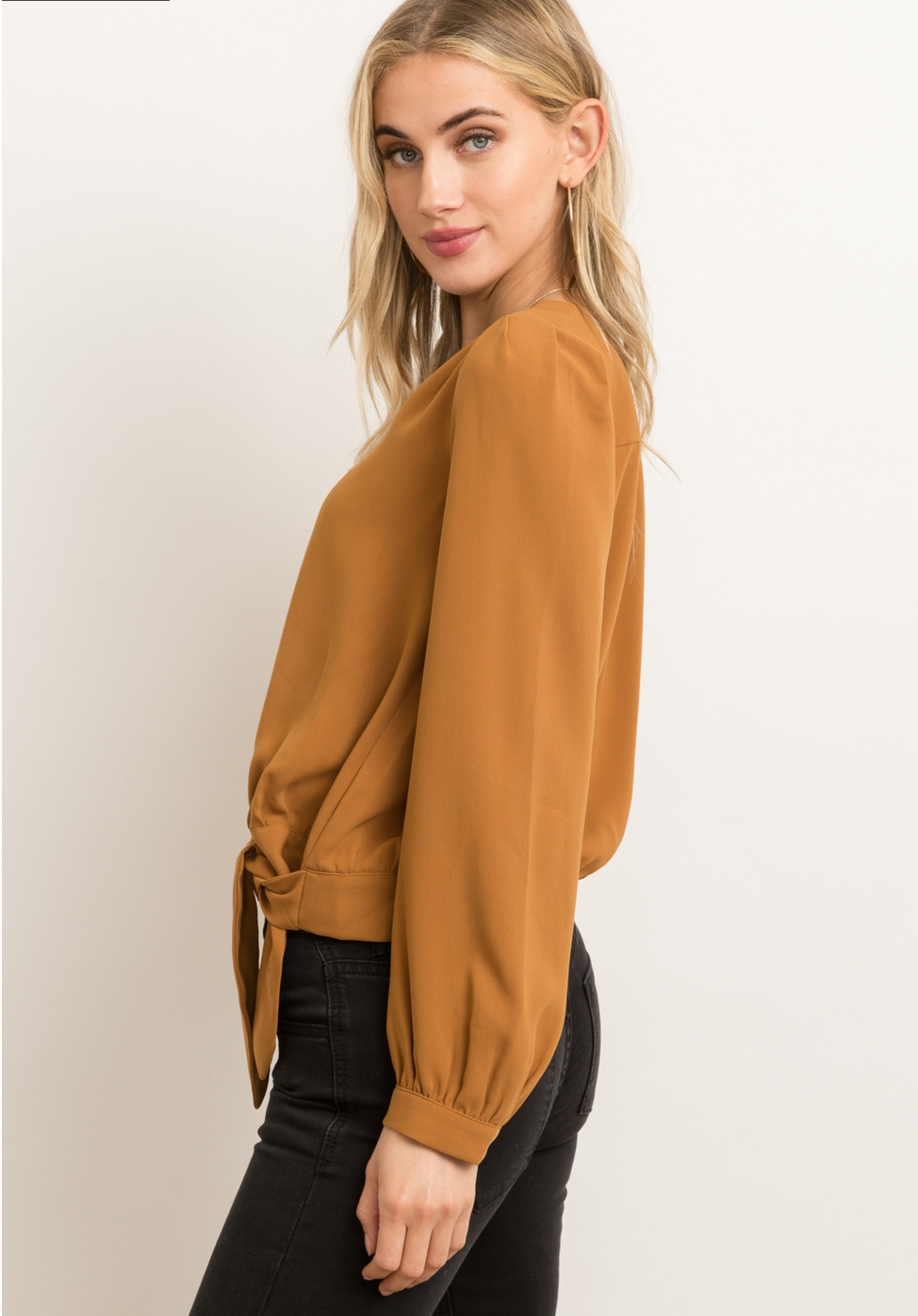 Hem & Thread Wrap Top-Mustard