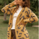 Hem & Thread Leopard Cardigan-Gold/Charcoal