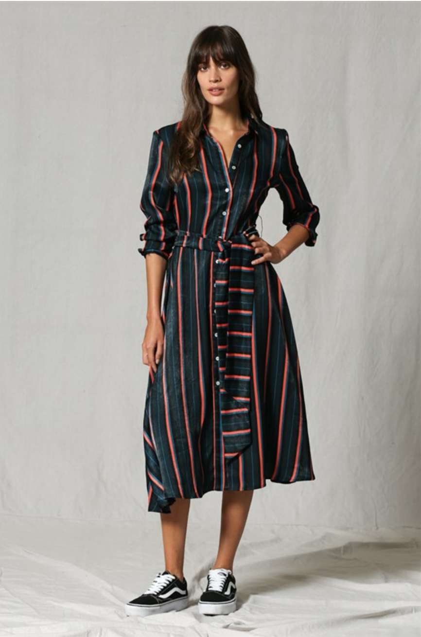 By Together Long Sleeve Multi Stripe Dress-Teal