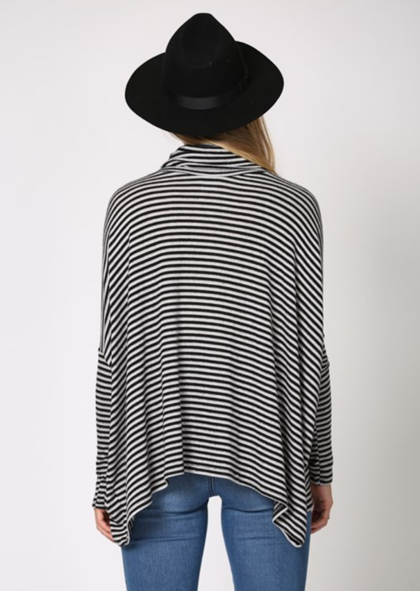 By Together Striped Flowy Turtleneck-Black/White
