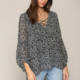 By Together Long Puff Sleeve Laced Up Woven Top-Black