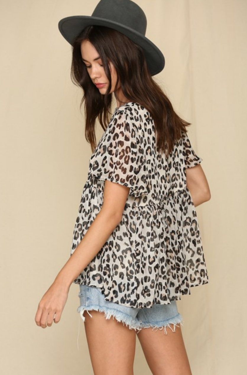 By Together Leopard Chiffon Top-FINAL SALE