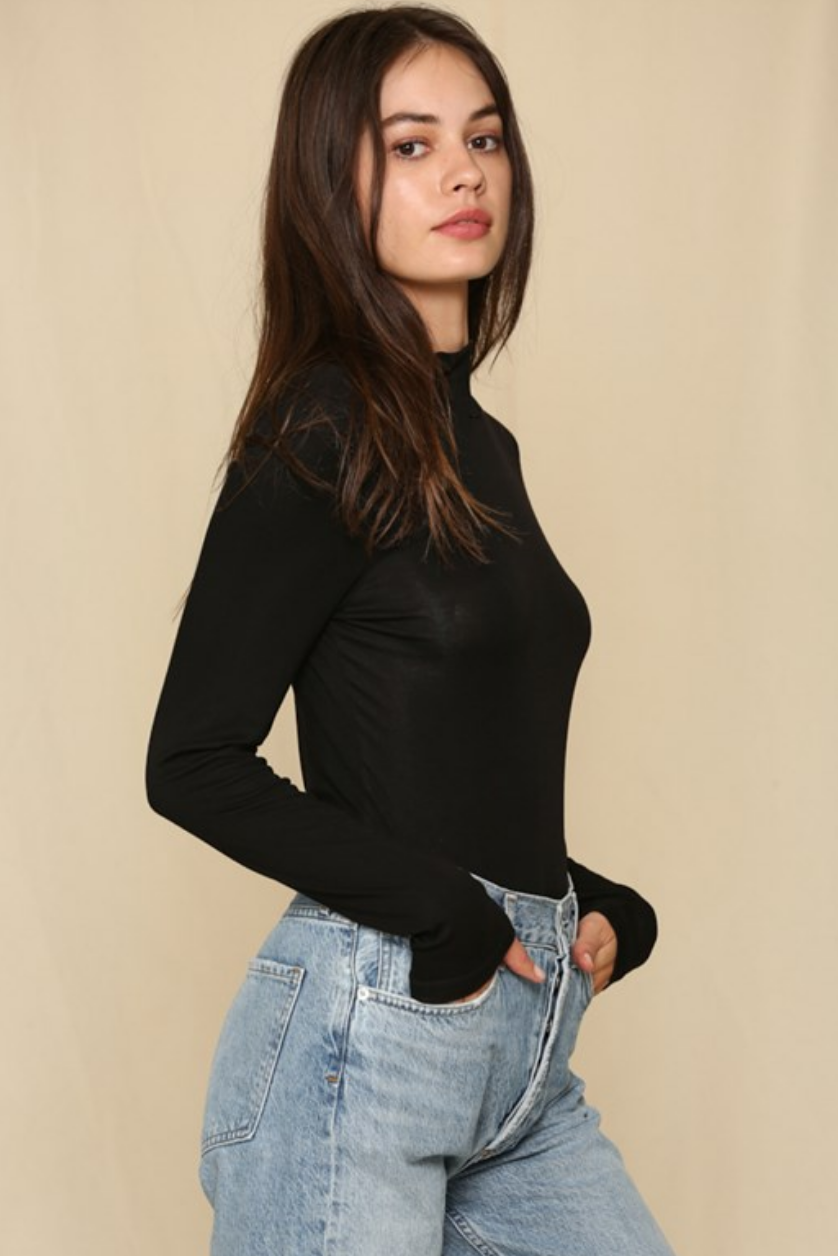 By Together Seamless Ribbed Mock Neck Top