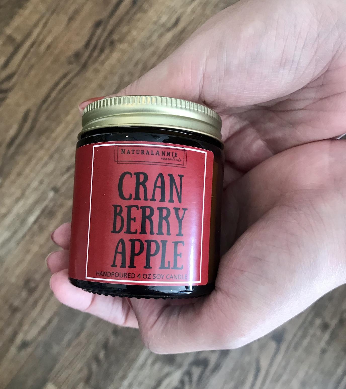 NaturalAnnie Essentials Cranberry Apple 4oz Soy Candle