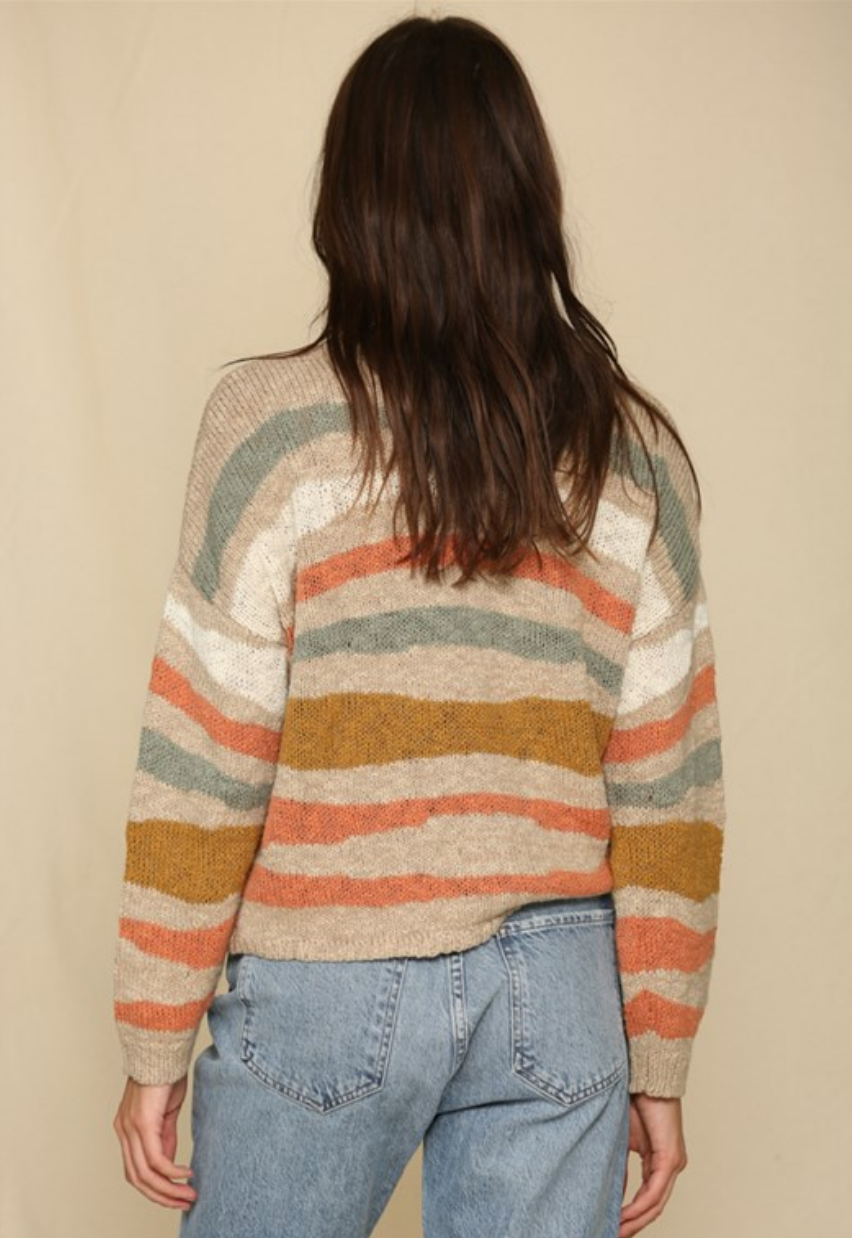 By Together Uneven Striped Boat Neck Sweater-Multi