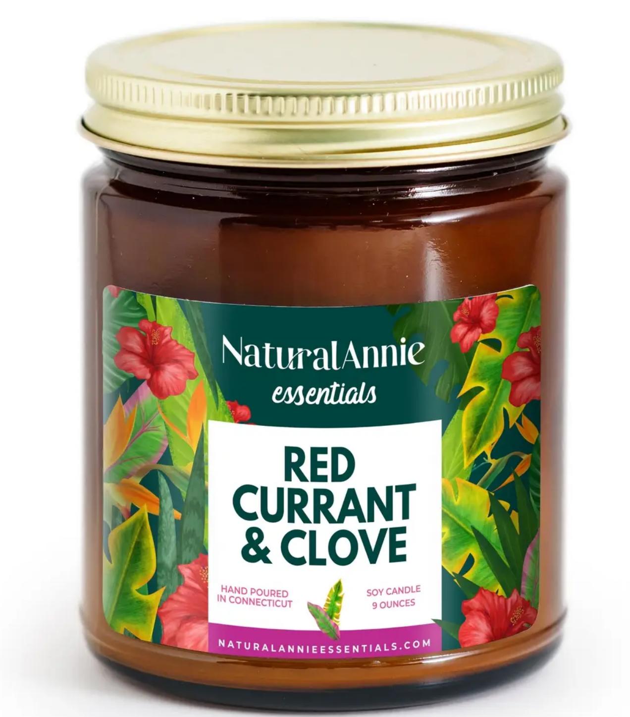 NaturalAnnie Essentials Red Currant&Clove Soy Candle-9oz