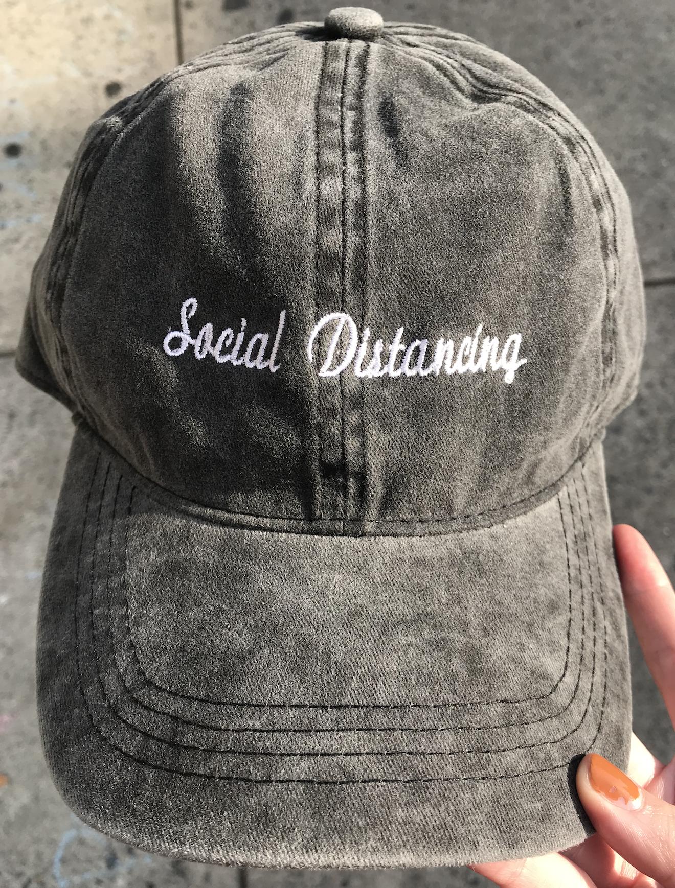 David & Young Washed Baseball Cap - Social Distancing-Black