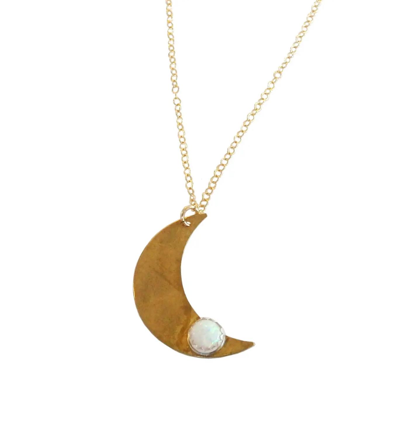 Metrix Jewelry Brass Opal Moon Necklace